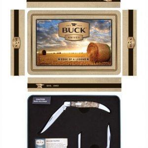 Buck-Knives-Combo-Tin-388375-Large-Toothpick-and-Deuce-Burlwood-Handle-RRP-95-113165358007